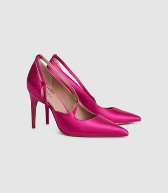 Reiss GENIVEVE SATIN SATIN COURT SHOES Hot Pink