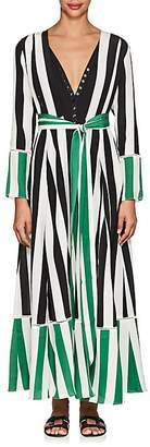 WE ARE LEONE Women's Mixed-Stripe Silk Belted Maxi Cardigan