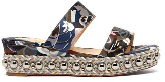 Christian Louboutin - Janitag 60 Liberty Print Flatform Sandals - Womens - Blue Multi
