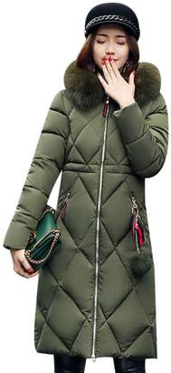 XWDA Down Parka Women Long Puffer Jacket Winter Lightweight Hooded Coat with Fur Hood