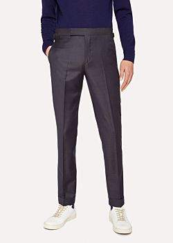 Paul Smith Men's Slim-Fit Navy Two-Tone Textured Wool Trousers With Side-Adjusters