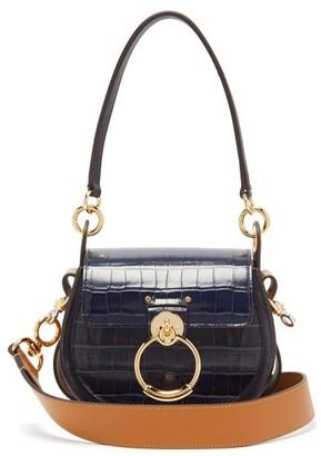 Chloé Tess Small Crocodile Effect Leather Cross Body Bag - Womens - Blue Beige