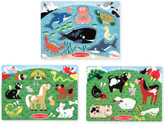 Melissa & Doug Kids' Farm Animals, Pets & Sea Creatures Peg Puzzle Bundle