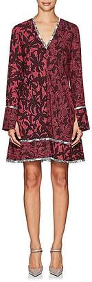 Proenza Schouler Women's Abstract-Print Silk A-Line Dress - Wine, Multi