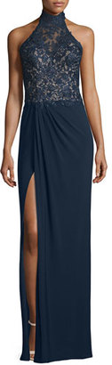 La Femme Sleeveless Mock-Neck Combo Gown, Navy $438 thestylecure.com
