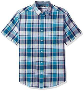Nautica Men's Classic Fit Short Sleeve Plaid Linen Button Down Shirt