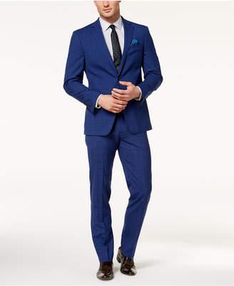 Tallia Orange Men's Slim-Fit Bright Blue Windowpane Suit