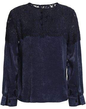 Raoul Cotton-Blend Corded Lace And Textured-Satin Blouse