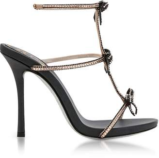 Rene Caovilla Caterina Black/Nude Satin T-Bar Sandals w/Crystals