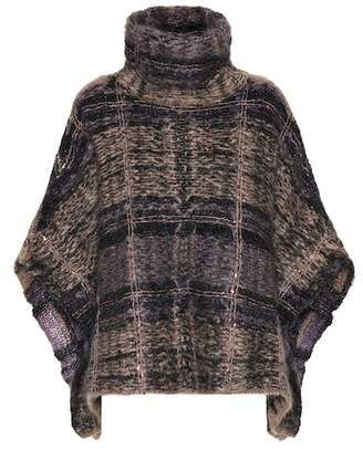Brunello Cucinelli Checked mohair-blend poncho