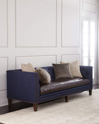"Massoud Ivy Leather-Seat Sofa 90"""