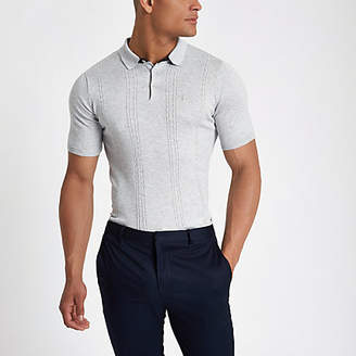 River Island Mens Grey cable knit slim fit polo shirt