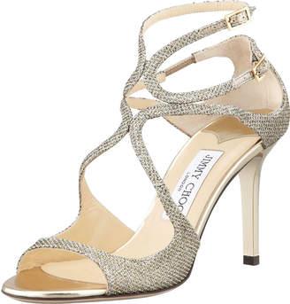 Jimmy Choo Ivette Glitter Fabric Crisscross Sandals