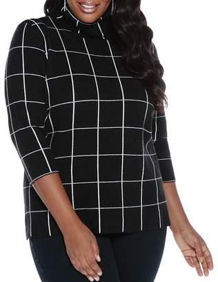 Belldini Plus Turtleneck Windowpane Sweater