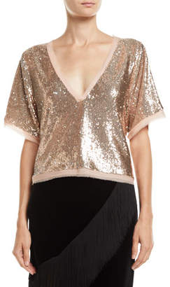 Nanette Lepore Fortress Sequin V-Neck Top