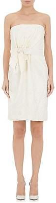 Lanvin WOMEN'S COTTON-BLEND EMBROIDERED STRAPLESS DRESS - IVORYBONE SIZE 38 FR