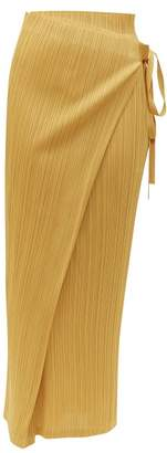 Pleats Please Issey Miyake Tie Waist Tech Pleated Skirt - Womens - Yellow