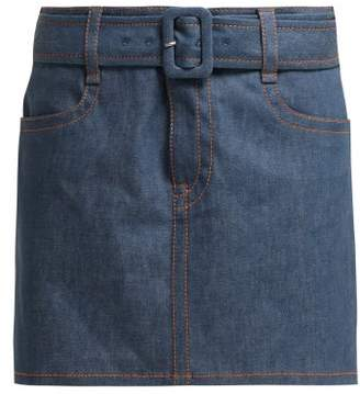Prada Belted Denim Mini Skirt - Womens - Denim