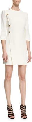 Alexander McQueen Side-Button 3\/4-Sleeve Dress