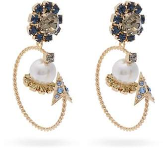 Erdem Crystal And Pearl Embellished Hoop Drop Earrings - Womens - Blue