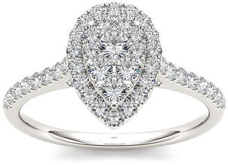 MODERN BRIDE 3/4 CT. T.W. Diamond 10K White Gold Pear-Shaped Engagement Ring