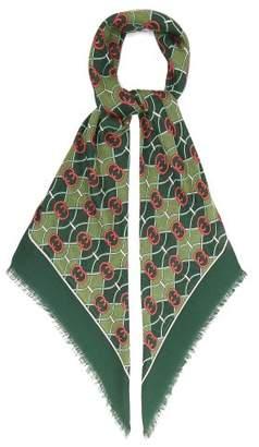 Gucci Gg Logo Print Wool Blend Scarf - Womens - Green