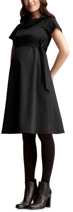Belted cowlneck dress