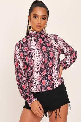 3c1150c2bc55 I SAW IT FIRST Fuchsia Shirred High Neck Snake Print Long Sleeve Blouse