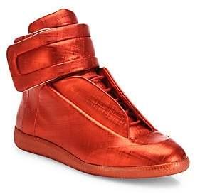 Maison Margiela Men's Future Hi Saffiano Metallic Leather Sneakers