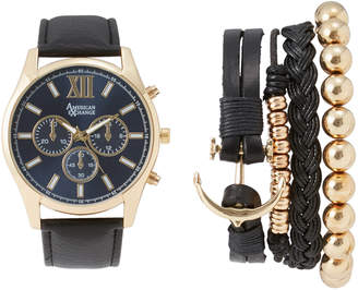N. American Exchange MST5325G100 Gold-Tone & Black Watch & Bracelet Set