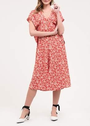 Blu Pepper Short Sleeve Floral Print Midi Dress