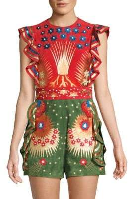 Valentino Ruffled Cap-Sleeve Leather Romper
