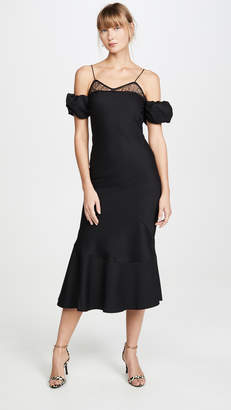 ANAÏS JOURDEN Black Lace & Wool Midi Dress with Puff Sleeves