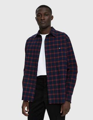 Need Flannel Button Up Shirt in Navy & Red