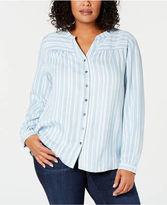 Style&Co. Style & Co Plus Size Split-Neck Striped Shirt