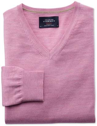 Charles Tyrwhitt Light Pink Merino Wool V-Neck Sweater Size XXL