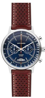 Jack Mason Racing Chronograph Leather Strap Watch, 40mm