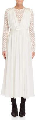 Giambattista Valli Off-White Lace Trim Draped Gown