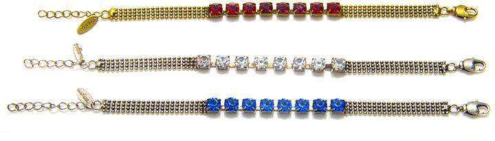 Charm & Chain Frangos Crystal Chain Bracelet, Assorted Colors