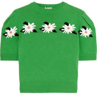 Cropped Intarsia Wool Sweater - Green