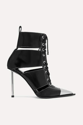 Alexander McQueen Metal-trimmed Cutout Leather Ankle Boots - Black