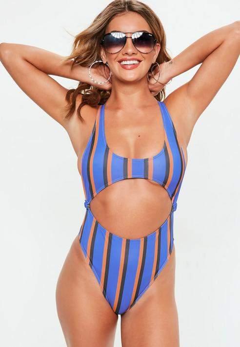 Stripe Extreme Cut Out Cross Back Swimsuit, Purple