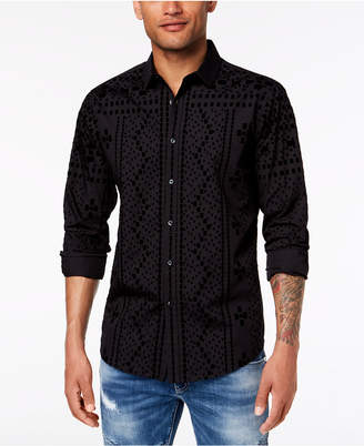 INC International Concepts I.n.c. Men's Flocked Shirt, Created for Macy's