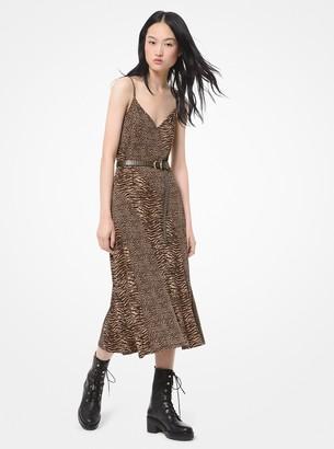 MICHAEL Michael Kors Animal-Print Matte-Jersey Slip Dress