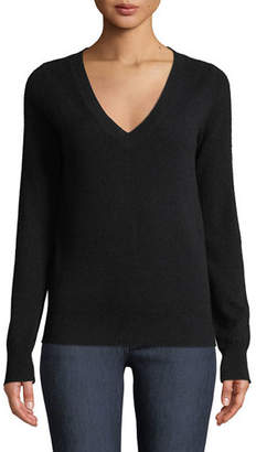Neiman Marcus Cashmere V-Neck Sweater, Plus Size