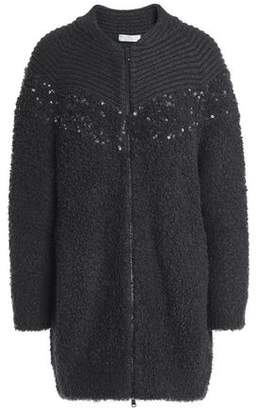 Brunello Cucinelli Sequin-Embellished Wool And Cashmere-Blend Bouclé-Knit Cardigan