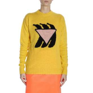 Prada Sweater Crew Neck Pullover In Pure Virgin Wool With Maxi Banana By