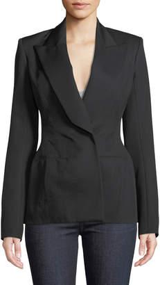Thierry Mugler Peak-Lapel Wool Twill Suiting Blazer Jacket