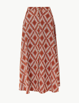 Marks and Spencer Printed Button Detailed A-Line Maxi Skirt