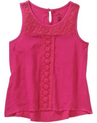 ONE STEP UP Girls' Flower Lace Tank with Lace Yoke